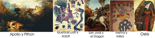 Mythological Battles: Quetzalcoatl, Apollo and Python, Krishna and Kaliya, Osiris and Typhon, Michael and the Red Dragon, Saint George and The Dragon;
