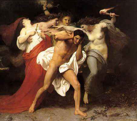 El Origen de la Ley - Los Remordimientos de Orestes (1862), William Frederic Bouguereau-Las Furias lo persiguen por haber matado a su madre