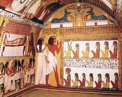 Egyiptomi sírbolt belseje- a Léleknek, Istennel való egyesülése felé vezető utazását leíró szimbólumok
