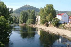 The river Visoko with the Pyramid of the Sun in the background