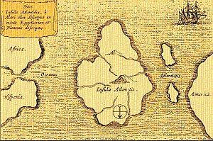 Mapa Atlantide, Atlantida, Potopljen kontinent